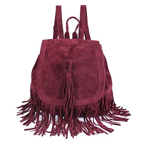 Damen Backpack Purse Faux Wildleder Ladies Rucksackhandtasche Satchel