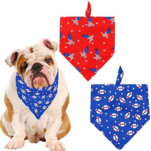 Hunde-Halstuch mit amerikanischer Flagge, für den 4. Juli der Unabhängigkeitstag, Welpen, Halstuch, Dreieck, Lätzchen, Set kleine, mittelgroße und große Hunde Katzen, 2 Stück Adler/American Football