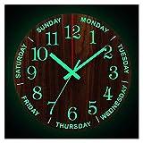 Fuxwlgs Reloj de Pared Reloj de Pared Luminoso de 12 Pulgadas Luz silenciosa de Madera en Noche Oscura Reloj de Pared de Moda nórdica Reloj de tictac con luz de Noche (Color : Luminous Clock)