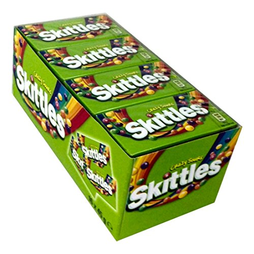 16 Boxen Skittles Sours Fruits a 45g Thekendisplay mit 16 Boxen mit Kaudragees mit knuspriger Zuckerhülle und Fruchtsaftkonzentrat