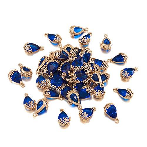 Cheriswelry 50 colgantes de cristal facetado con forma de lágrima, cuentas de cristal transparente, marco de latón dorado, para joyería, pulseras, pendientes, tamaño mediano, color azul
