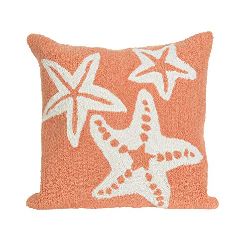 Liora Manne Frontporch Indoor/Outdoor Pillow, 18' Square, Starfish Coral