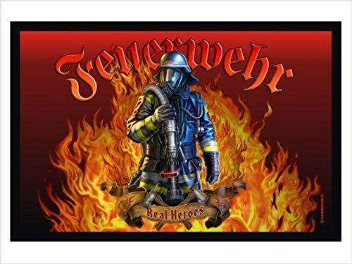Crealuxe Fussmatte Feuerwehr - Fussmatte Bedruckt Türmatte Innenmatte Schmutzmatte lustige Motivfussmatte