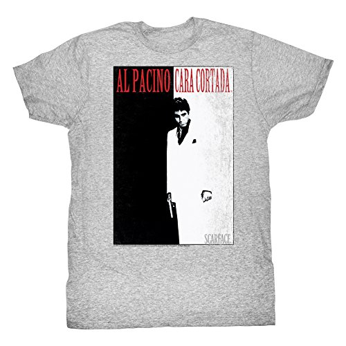 2Bhip Scarface Gangster Movie Black & White Poster Adult T-Shirt Tee - Grey...