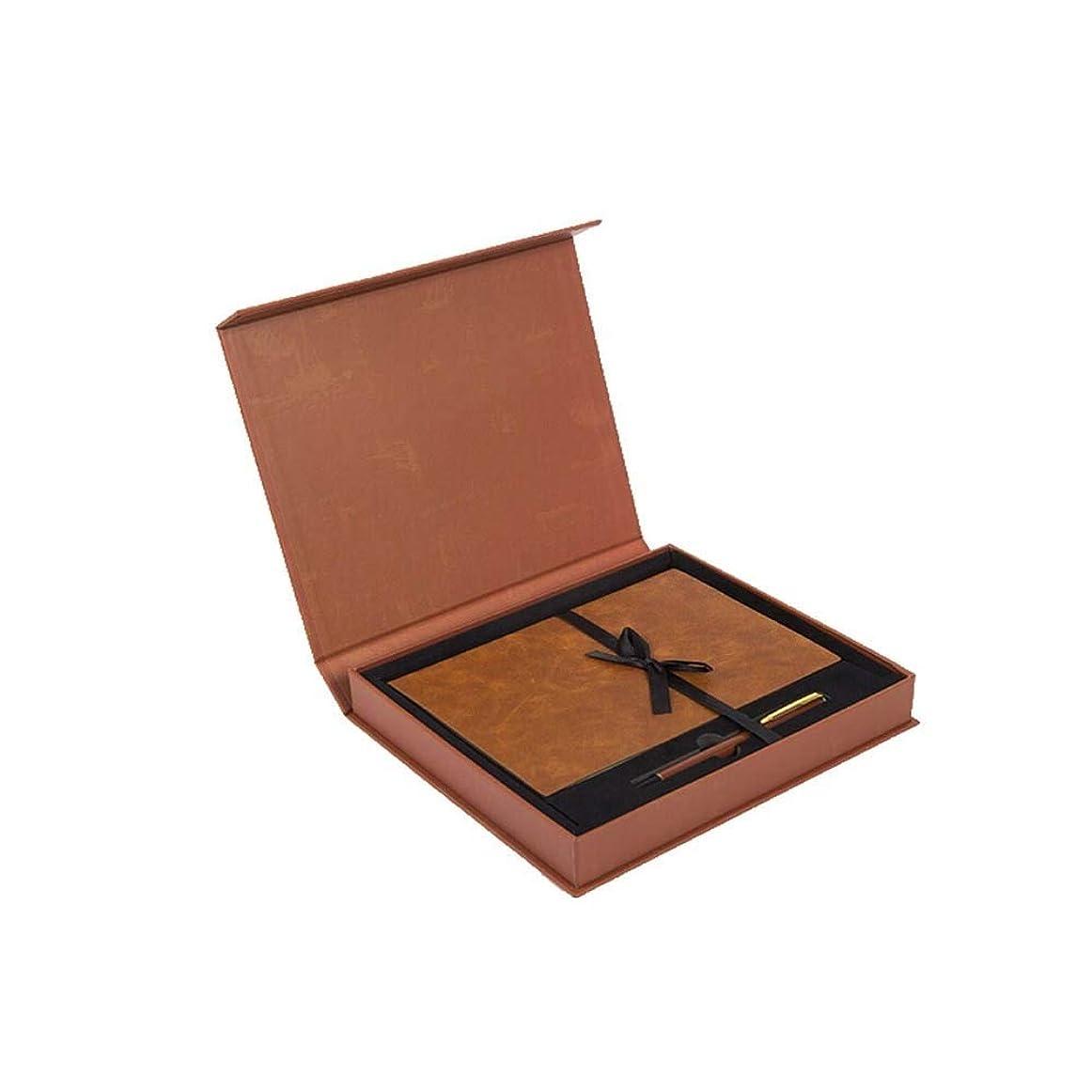 Jielongtongxun ノートブック - ギフトボックスセット、A5厚手メモ帳、革日記クリエイティブノート、文房具誕生日プレゼント、ギフトボックスセット、高品質 繊細でシンプル (Color : Brown)