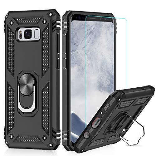 LeYi Hülle Galaxy S8 Plus Handyhülle,360 Grad Drehbar Ringhalter Cover TPU Magnetische Bumper Schutzhülle mit HD Folie Schutzfolie für Hülle Samsung Galaxy S8 Plus/Galaxy S8+ Handy Hüllen Schwarz