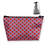 Shiny Strawberry Trapezoid Makeup Cosmetic Pouch Bag for Women Purse