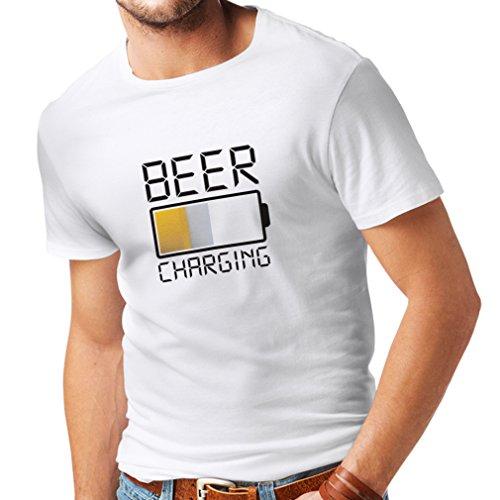 lepni.me Maglietta da Uomo Ricarica della Birra, Citazioni Divertenti, Umorismo da Bar per Gli Amanti della Birra (Large Bianco Multicolore)