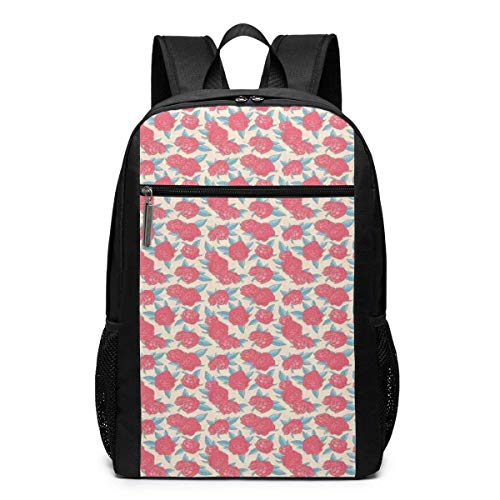 AOOEDM Schoolbag Backpack 17 inch 17 Inch School Laptop Backpack,Valentines Day Style Rose Composition Love Symbol in Pastel Colors,Casual Daypack for Business/College/Women/Men