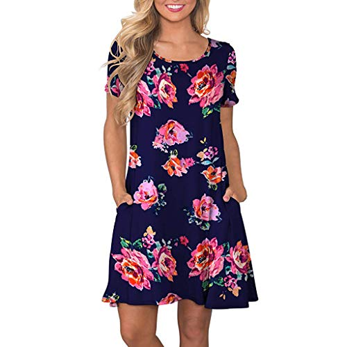 Short Sleeve Printed Pocket Dress Daily Casual Loose Fairy Skirt Boho Dress Tunic Down Maxi Comfortable Dresses