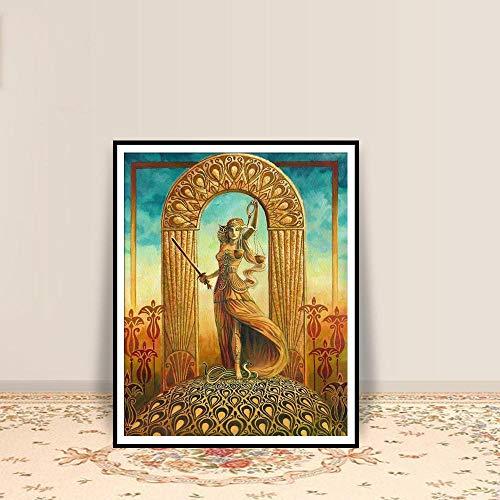 QianLei Gerechtigkeit Tarot Kunstdruck Poster Jugendstil Zigeuner Art Deco Pagan Mythologie Psychedelic-30X40cm No Framed