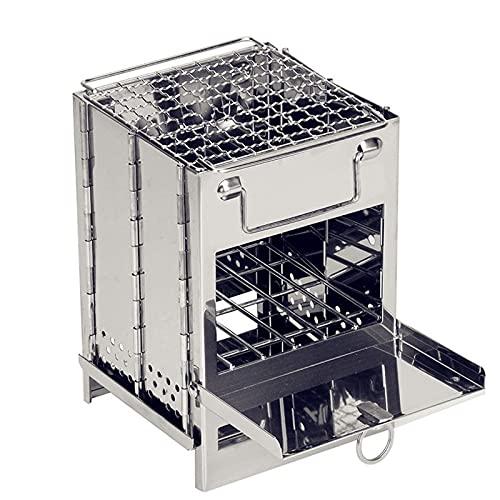 LGLG Piccolo barbecue – Barbecue portatile pieghevole a carbonella da tavolo in acciaio inox per picnic campeggio terrazza giardino viaggio per 2 da 5 persone (21 x 15 x 15 cm)
