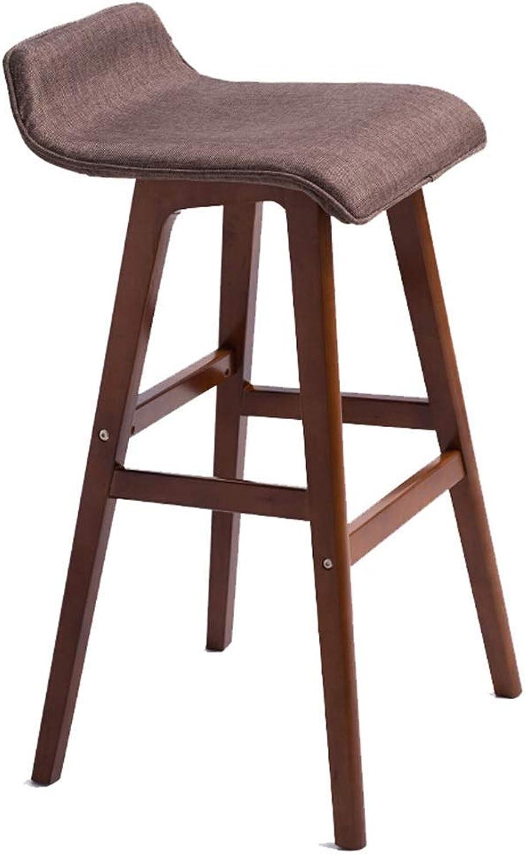 LLYU Wooden bar Stool Breakfast Kitchen Counter Stool Linen seat high Stool (color   Brown, Size   65CM Green)