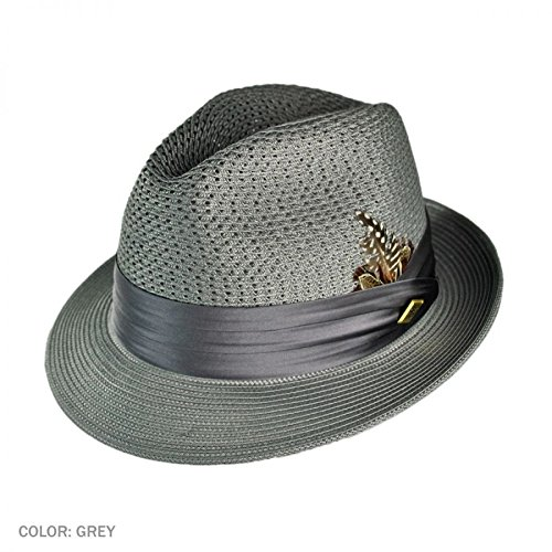 Stacy Adams Sa394 Vented Crown Fedora Brim Grey Summerhat Grey Men's Size Medium