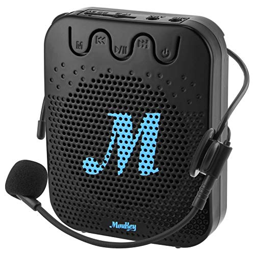 Moukey Mini Sprachverstärker Tragbarer wiederaufladbarer Voice Amplifier Lautsprecher Stimmverstärker Va-1 mit Wired Mikrofon Headset und Bund für Lehrer, Trainer, Referent Vorträge, Reiseführer
