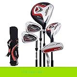 Mhwlai Mazze da Golf per Bambini, Set di Bastoncini per Bambini e Bambine 5-12 Anni (Nero Rosso),A