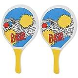 Junlucki Palas de Tenis de Playa - 8 mm/0.3 Pulgadas de Madera Raquetas de Playa Raqueta de Tenis de Playa Raqueta Juego de Raqueta Equipo Deportivo para Juego de Pelota de Paleta Juego de Raqueta