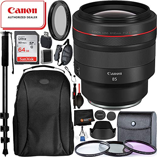 "Canon RF 85mm f/1.2L USM Lens(3447C002) with Must Have Accessory Bundle: Includes - SanDisk Ultra 64GB Memory Card + 3pc Filter Kit(UV, CPL, FLD) + Variable Neutral Density Filter + 72"" Monopod + More"