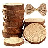 Caydo 20 Pcs 2.4-2.8 Inch Unfinished Wood Slices with Holes and 33 Feet Twine String for Wedding Ornaments and Home Hanging Decorations