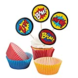 1 X Superhero Cupcake Picks and Baking Cups - 50 cups/50 picks
