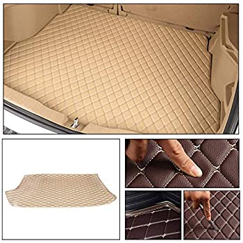 Longzhimei Leather Car Trunk Mats for Volkswagen Polo Hatchback 2014-2018 Car Boot Liner Protector Cover Cargo Liner Set Anti-Slip Beige