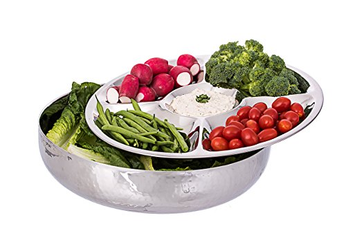 Classic Double Wall Serving Bowl - Stainless Steel 2 Piece Party Bowl and Serving Tray - Great for Salads, Fruit, Snacks, Chips and dips, Vegetables - Hot and Cold