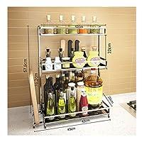 調味料棚のキッチンラック カウンタ 調味料棚 多目的 3層 キッチンラック 整理ラック 省スペース 簡単組立 ステンレス (Size : Length 49cm)