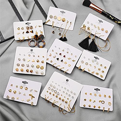 JIUXIAO Pendientes de botón de Cristal de Perlas Simples geométricos Bohemios para Mujer, Pendientes de corazón de Serpiente,joyería