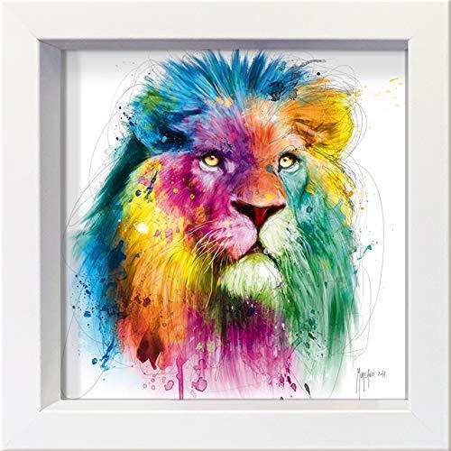 International Graphics Gerahmte Postkarte - MURCIANO, Patrice - ''Lion'' - 16 x 16 cm - weißer Rahmen