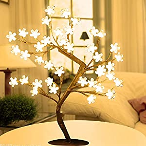 Cherry Blossom Tree Lights Artificial Tree Bonsai Lighted Tree Lamp Table LED Flower Lights Decoration for Bedroom Party Wedding Office Home Christmas USB Warm White