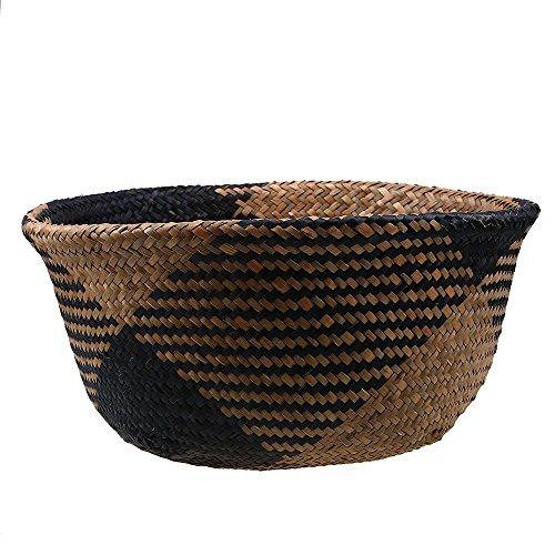 Szetozy Korb aus natürlichem Seegras, von Goodchanceuk, handgefertigter Seegraskorb mit Griff, nutzbar als Bauchkorb, Pflanzgefäß, für Spielzeuge oder als Wäschekorb - 2