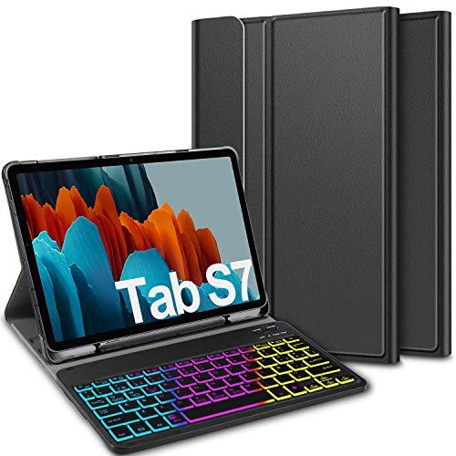 ELTD Teclado Estuche para Samsung Galaxy Tab S7 (SM-T870/875) 11 Pulgada,[Español, con la tecla (ñ)], Teclado inalámbrico 7 Colores Cubierta de Teclado retroiluminada de Tres particiones, (Negro)