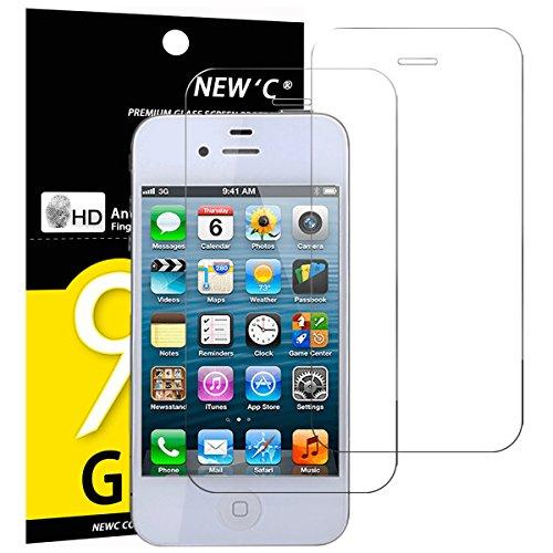 NEW'C 2 Stück, Schutzfolie Panzerglas für iPhone 4, iPhone 4s, Frei von Kratzern, 9H Festigkeit, HD Bildschirmschutzfolie, 0.33mm Ultra-klar, Ultrawiderstandsfähig