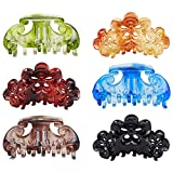 Large Clear Leopard Black Brown Octopus Plastic Hair Claw Clips Clutcher Crab Jaw Barrettes Grips Clamps Clasps Pin Buns Braids Updos Twist Fancy Hair Accessories for Women Girl