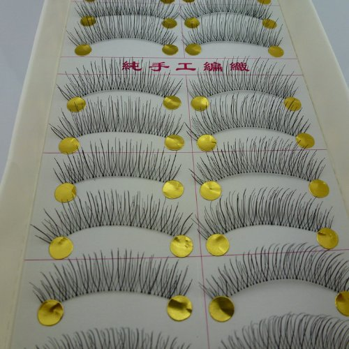 40 Pairs Natural Look Taiwan Handmade Fake False Eyelashes Eye Lashes Transparent Stem High Quality #217 Classical Eyelashes - MZZH14001 by BMGIC