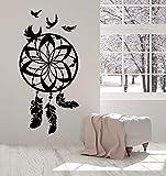 Etiqueta de la pared de vinilo hermoso atrapasueños protección amuleto pájaro pluma dulce sueño etiqueta de la pared luna y estrella dormitorio guardería