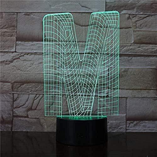 Ilusión 3D Luz Nocturna Luz Nocturna Infantil Lámpara La Letra M 7 Colores Touch Sensor Lámpara Cargador Usb Dormitorio Decoración Regalo De Cumpleaños Para Niños
