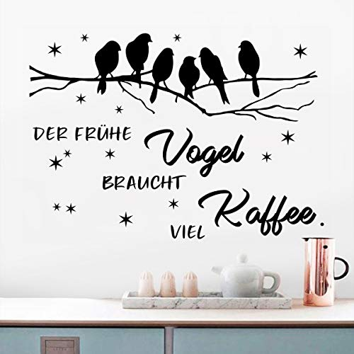 WandSticker4U®- XL Wandtattoo Sprüche Der frühe VOGEL braucht viel KAFFEE I Wandbilder: 80x60 cm I selbstklebend Schriftzug schwarz Sterne Baum Ast I Wand Deko für Küche Esszimmer Wohnzimmer