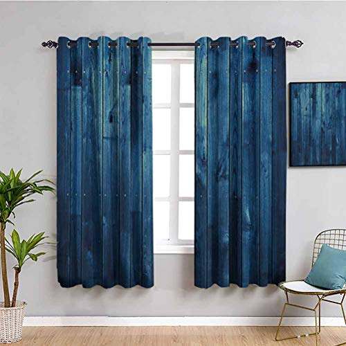 Dark Blue Black Out Window Curtain Wooden Planks Texture Image Boards Floor Wall Lumber Rustic Home Decor Maintain Good Sleep Light Blue Dark Blue W63 x L45 Inch