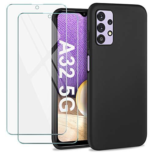 SOGUDE Cover per Samsung Galaxy A32 5G Custodia, [2 PCS] Pellicola Protettiva in Vetro Temperato + Case Morbida Silicone Sottile TPU per Samsung Galaxy A32 5G, Nero