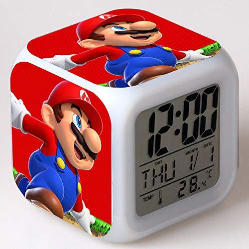 FDGFDG Nuevo Reloj Despertador Super Mario Bros Brillante LED Cambio de Color Reloj Despertador Digital para niños Juguetes de Regalo de cumpleaños Reloj Despertador