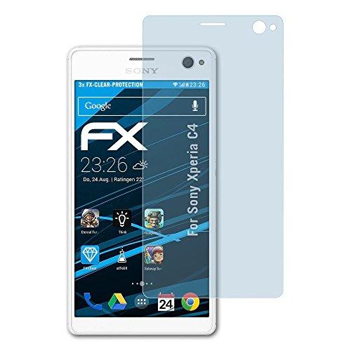 atFolix Schutzfolie kompatibel mit Sony Xperia C4 Folie, ultraklare FX Bildschirmschutzfolie (3X)