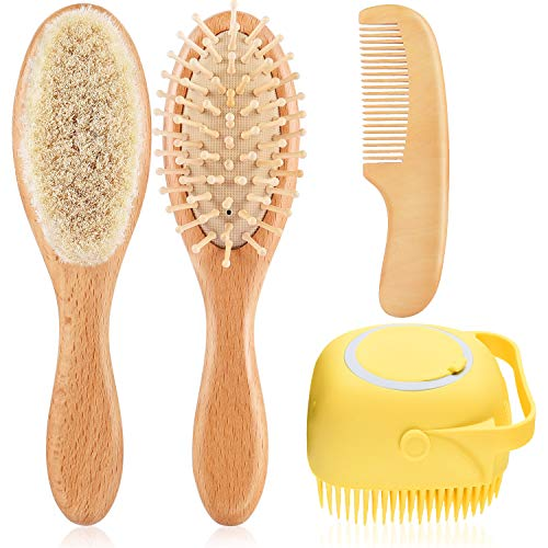 Baby Hair Brush Comb Set,4 Piece Natural Wooden Baby Brush Comb with Soft Goat Bristles for Cradle Cap and Silicone Brush-Baby Shower Scalp Grooming Massage for Newborns,Toddlers,Kids