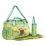 XXL 3 tlg Baby Farbe Wickeltasche Pflegetasche Windeltasche Babytasche Reise Farbauswahl (grün)
