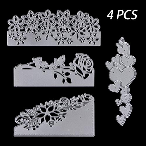 4 Pcs Metal Cutting Dies Stencils, KISSBUTY Criss-Cross Metal Flower Rose Love Scrapbooking Dies Cuts Handmade Stencils Template Embossing for Card Scrapbooking Craft Paper Decor