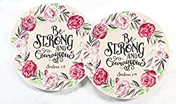be strong and courageous car coasters