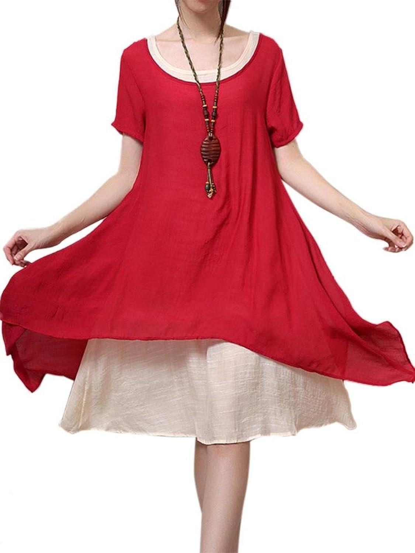 Women Vintage Patchwork High Low Linen Tunic Dress