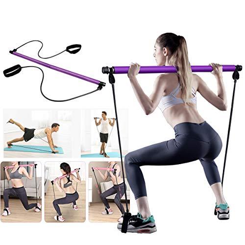 iArtker Tragbares Pilates-Stangen-Set mit Widerstandsband, tragbares Pilates für Ganzkörpertraining, Yoga, Pilates, mit Fußschlaufe für Yoga, Stretch, Modellieren, Drehen, Sit-Up