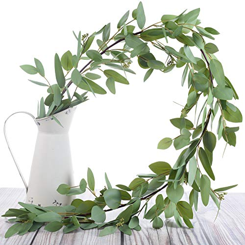 Woooow 5 Feet Seeded Eucalyptus Garland,Eucalyptus Leaves Runner Table Garland Artificial Eucalyptus Greenery Garland |Wedding Garland for Table | Holiday Centerpiece | Garland Greenery for Wedding