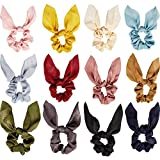 12 Pieces Hair Scrunchies Rabbit Bunny Ear Bow Bowknot Scrunchies Bobbles Elastic Hair Ties Ropes Ponytail Holder Accessories for Women Girls (Satin Silk)